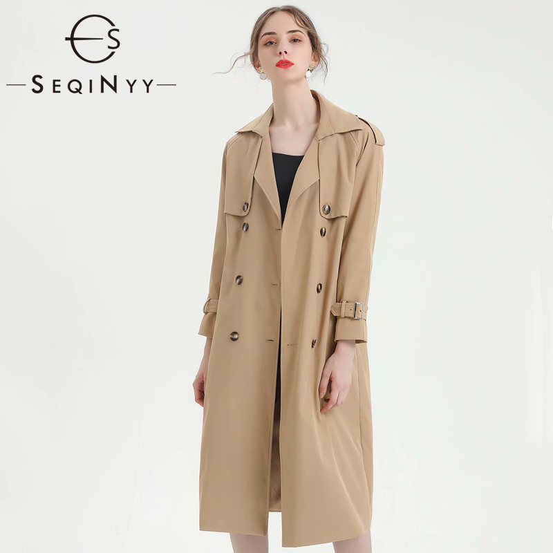 SEQINYY Long   Trench   Coat 2020 Spring Autumn New Fashion Design Long Sleeve Women Slim Top Stripes Belt