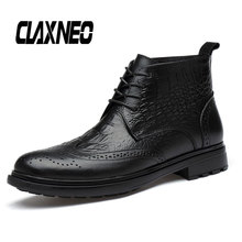 CLAXNEO Man Boots Genuine Leather Brogue Boot Male Design Alligator Shoes Mens Winter Plush Fur Warm clax Chelsea Shoe
