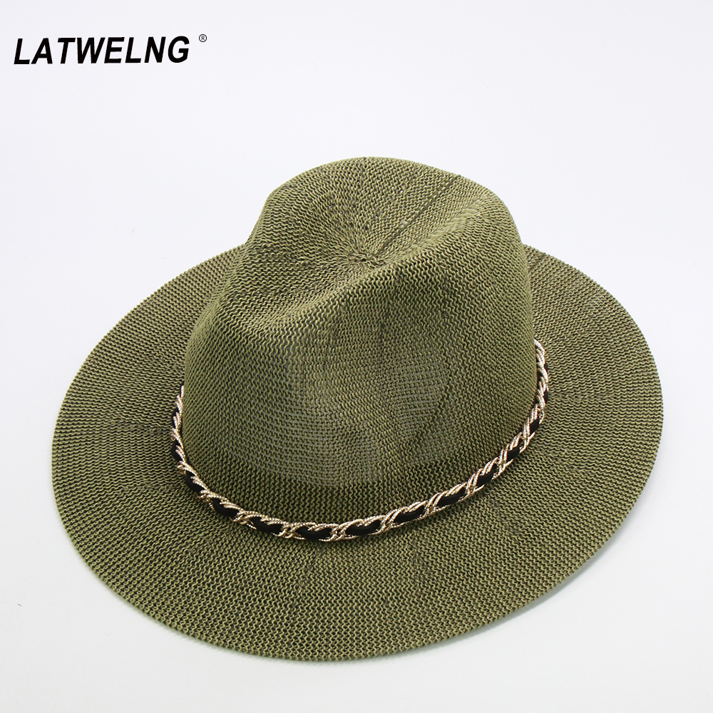 Fashion Metal Chain Panama Hats For Women 10 Colors Jazz Cooling Sun Hats Summer Breathable Elegant Ladies Party Hat Wholesale