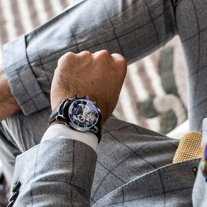 Image 5 - Forsining Tourbillion Fashion Wave Black Golden Clock Multi Function Display Mens Automatic Mechanical Watches Top Brand Luxury