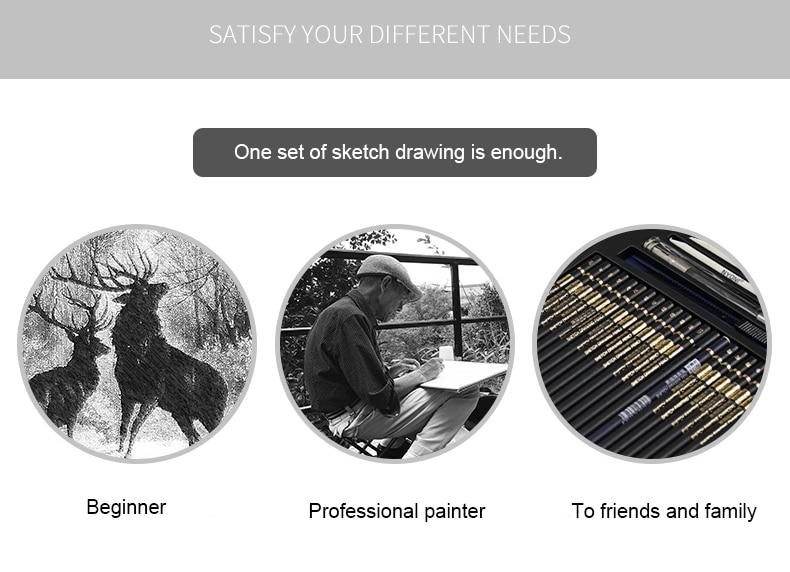 Conjunto de lápis de esboço profissional, kit