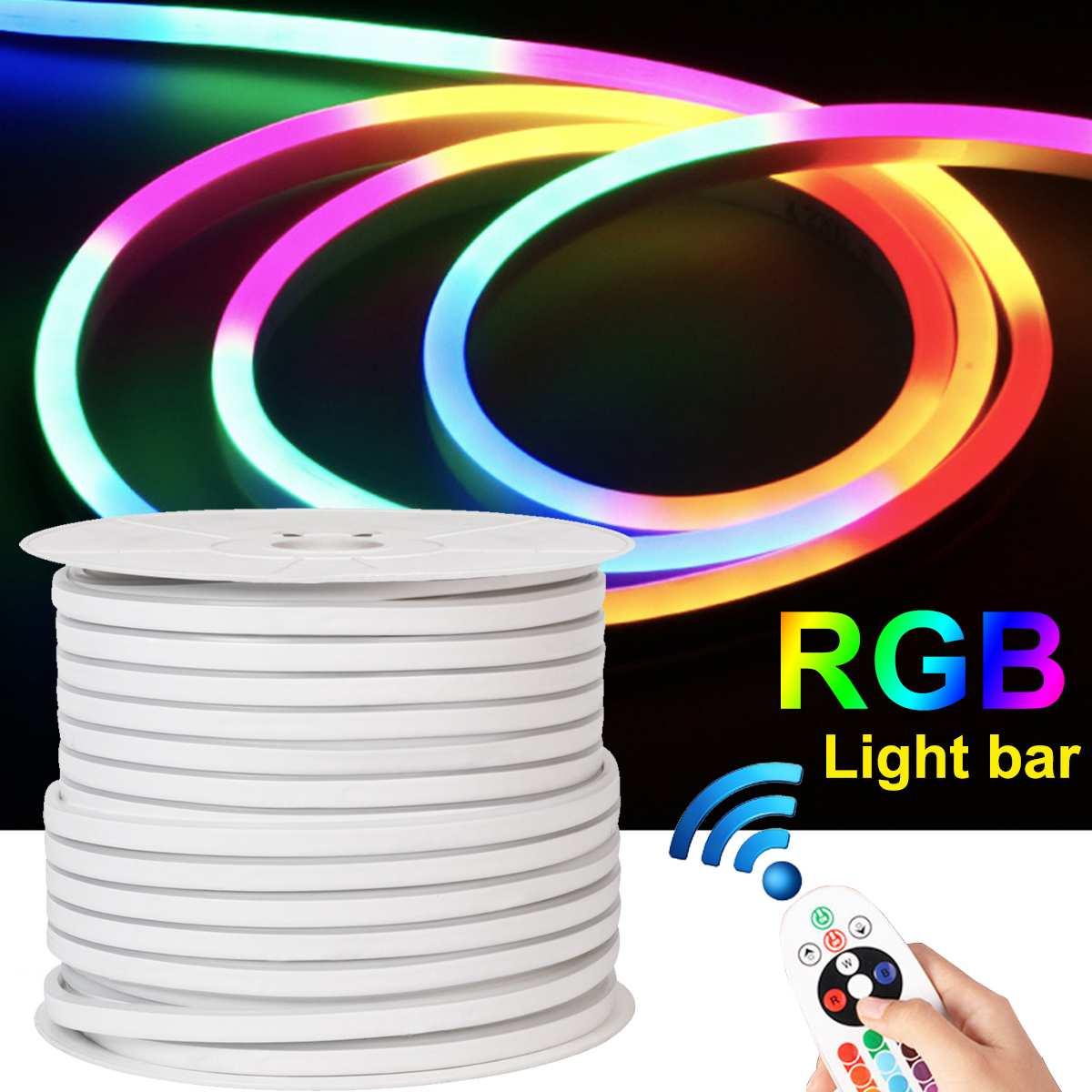 20V 12W Светодиодные ленты светильник RGB неоновые синхро-адаптер длиной 1 м/5 м/10 м w дистанционного Управление адаптер Водонепроницаемый Гибкая...