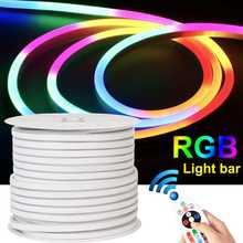 Luz de fundo flexível impermeável da fita da fita do adaptador de controle remoto para a festa do signage 20v 12w conduziu o néon 1m/5m/10m do rgb da luz de tira