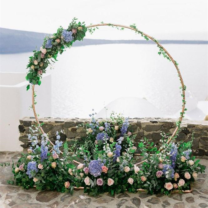 Customized new iron wedding props birthday party shelf background decoration arch round flower door