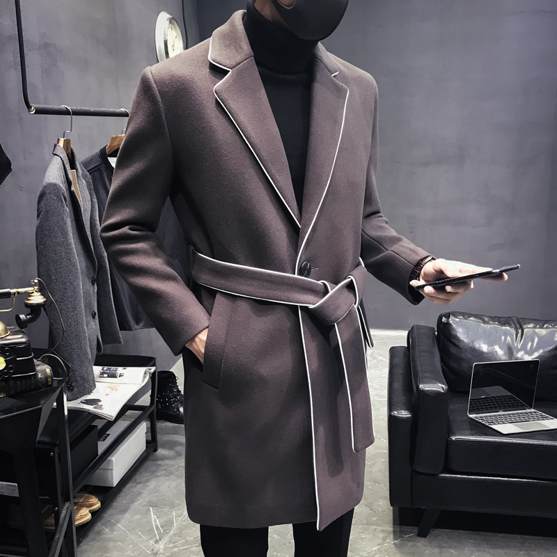 Winter Coat Jackets Fashion And Solid with Belt-Trend Slim-Fit Men Medium-Length Luxury