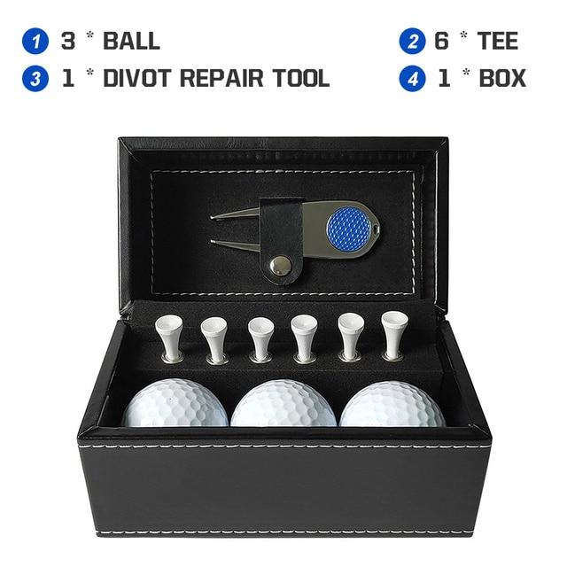 11 PCS Golf Accessories Kit with 6 Golf Tees 3 Golf Balls Divot Repair Tool Leather Box Set Golf Trainning Gift 3