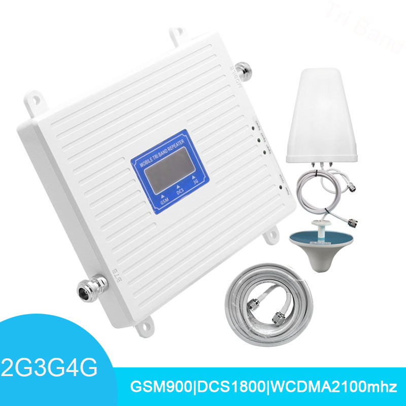LTE Cellular Signal Booster Tri Band Repeater 900 1800 2100 GSM Repeater DCS WCDMA 2G 3G 4G Repeater Mobile Amplifier Kits *