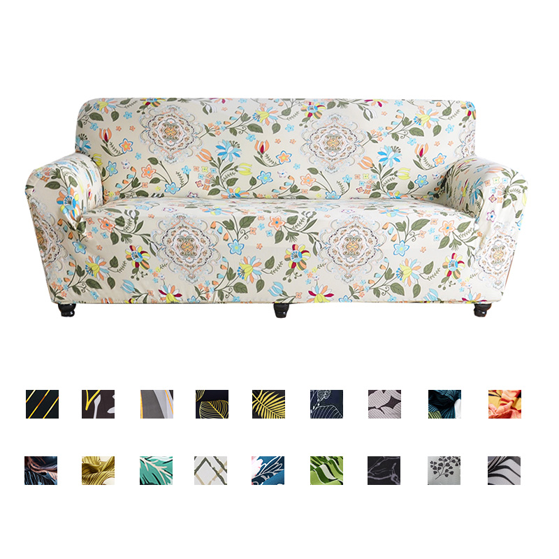 Sofa Covers Flowers And Leaves Elastic Couch Cover For Living Room Stretch Non-slip Sofa Slipcover Armhair Protector Anti-dust