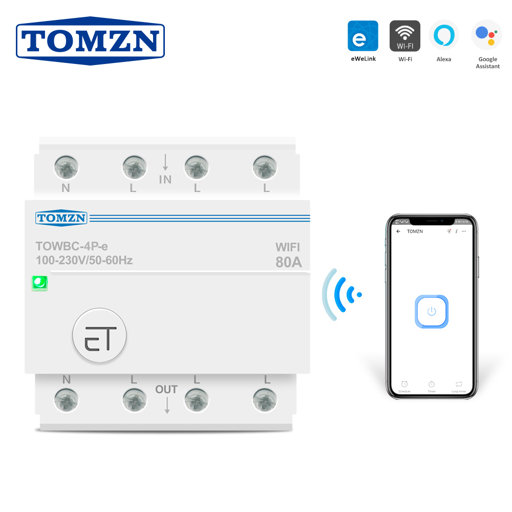 Disjoncteur WIFI Din Rail Smart Switch Commande /à distance de la voix par APP Ewelink pour minuterie mcb Smart Home 110V 220V 380V pour g/én/ération DC et solaire-1P/_50A