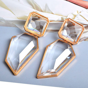 Clear And Pure Crystal Irregular Dangle Earrings  4
