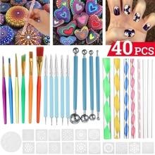 40 pcs Mandala Dotting Tools Set Dotting Pens Brush Acrylic Rods Color Brush