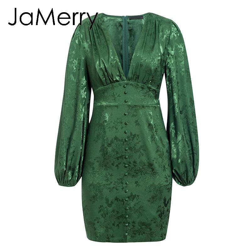 Image 5 - JaMerry Vintage sexy short party dress Lantern single breasted a line mini dress Green ribbon highstreet elegant dressesDresses   -