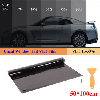 50cm x 1M Black Glass Window Tint Shade Film VLT 15%-50% Auto Car House Roll Car Sun Shade Window Sunshade Tint Cover protection image