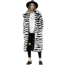 Faux Woman New Winter Fur 2020 Plus Size Women Clothing Artificial Economy Mink Fur Coats Stripe Fake Fur Coats ZX1372(China)