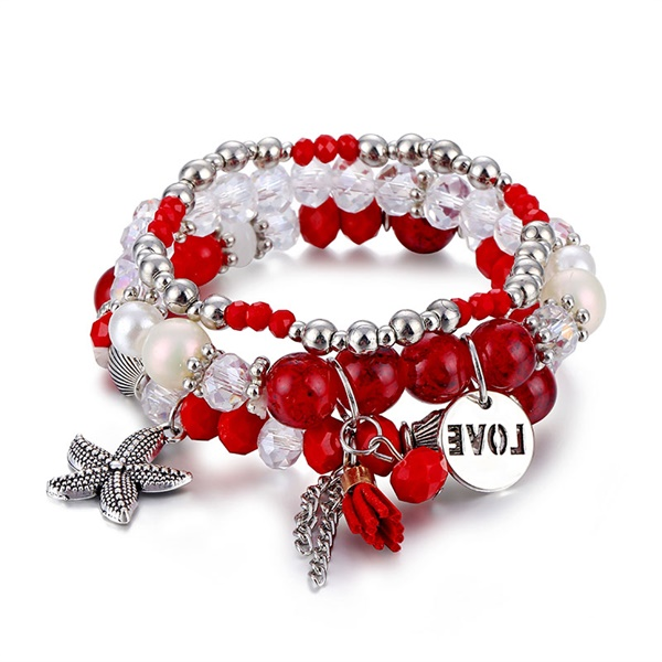 Классический Набор браслетов «Древо жизни» для женщин, многослойный винтажный браслет из натурального камня в виде листьев, браслеты и браслеты, ювелирные изделия, подарки - Окраска металла: 6582
