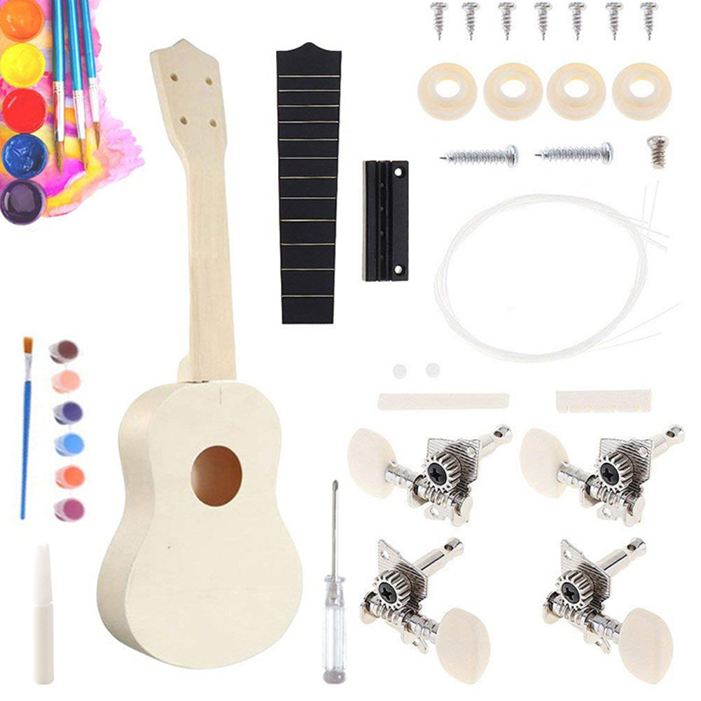 21inch Children Hawaii Guitar Beginner Assembly Handwork Toy For Amateur Simple Interaction Ukulele DIY Kit Support Painting