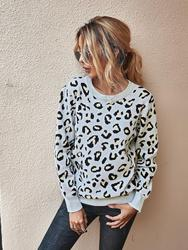 2020Women Leopard Knitted Sweater Winter Animal Print Thick Long Sleeve Female Pullovers Soft Warm Streetwear Casual Jumper Tops
