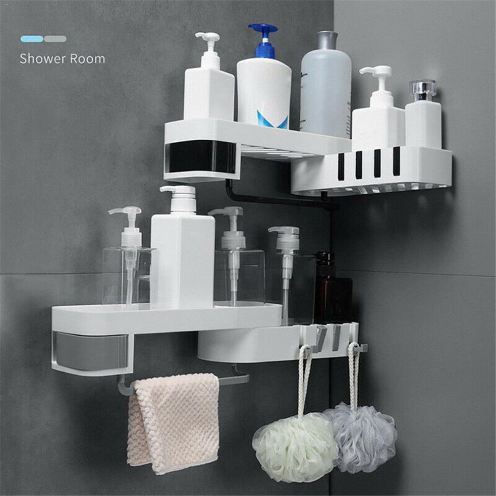 Bathroom Shelf Storage Holder Kitchen Storage Plastic Suction Cup Shower Wall Shelf Organizer Punching free Wall Mounted|Storage Shelves & Racks| |  - title=