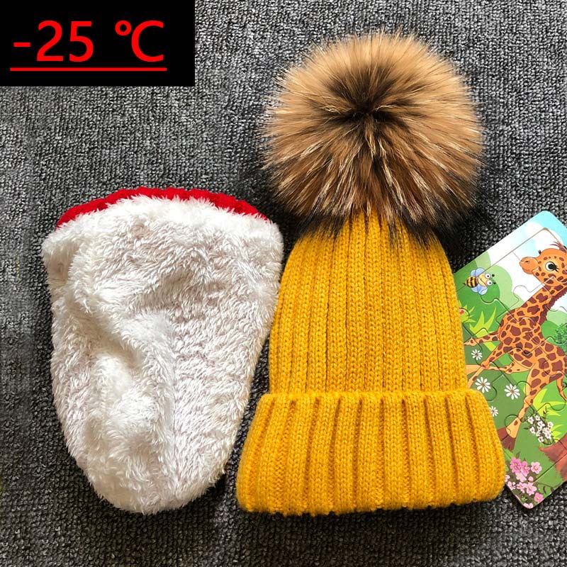 2019 Children Real Raccoon Fur Ball Hats Plus Velvet Winter Hat Cap For Kids Boy Girl Warm Fur Pom Poms Ski Hat Fur Pompoms Hat