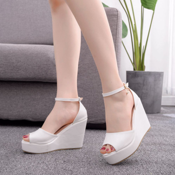 Women's hot style wedge sandals comfortable fish mouth sandals hemp rope high heel fish mouth sandals high heels for women 10cm 4