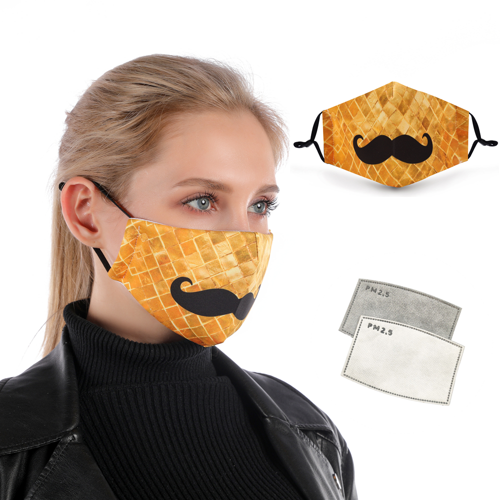 Zohra Moustache Printing Reusable Protective PM2.5 Filter Mouth Mask Anti Dust Face Mask Bacteria Proof Flu Mask