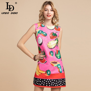 LD LINDA DELLA 2020 Fashion Runway Elegant Summer Dress Womens Sleeveless Casual Fruit Print Sequin Loose Mini Short