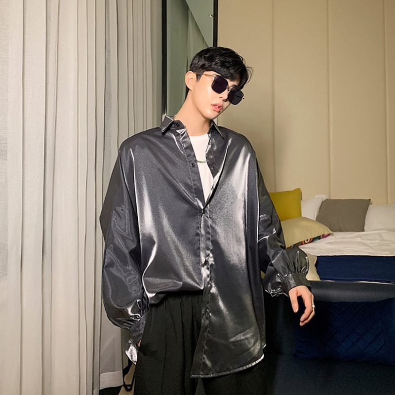 EWQ / Men's Wear 2020 Spring Summe Rnew Oversized Polarized Bright Color Shirt For Male Fashion Bubble Long Sleeve Tops 9Y1993