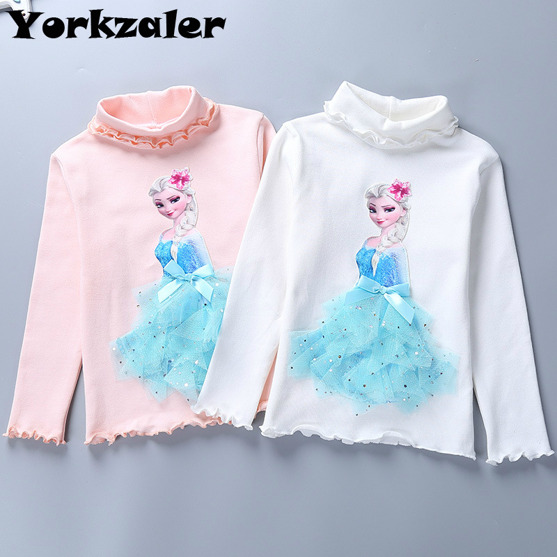 Shirt Tops Long-Sleeve Elsa Girls Princess Kids Children Cartoon Turtleneck Autumn  title=