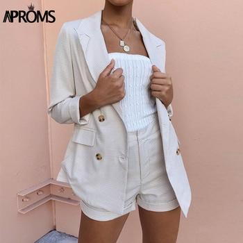 Aproms Autumn Khaki Plaid Workwear Blazer Women 2020 Elegant Double-breasted Pocket Office Ladies Chic Outerwear Coats