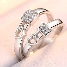 2 pcs/par resizeable cristal amor bloqueio casal anel de noivado casamento anel ajustável cz anel dia dos namorados presente atacado