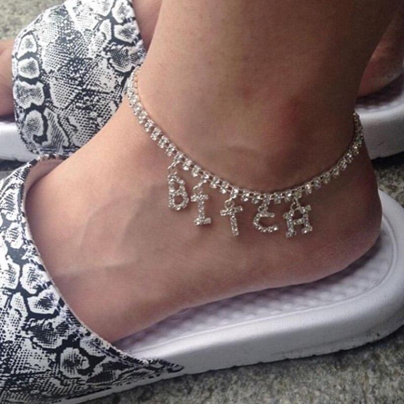 2020 Women BITCH Crystal Anklets Bracelet Letter DIY Boho Jewelry Silver Color Gold Foot Beach Leg Chain Barefoot Ankle Bracelet
