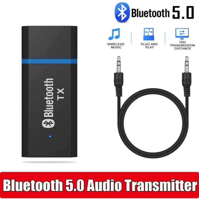 USB Bluetooth 5.0 Audio Transmitter Receiver Adaptor 3.5Mm untuk TV PC Mobil AUX Stereo AUX 3.5Mm Jack untuk headphone Speaker