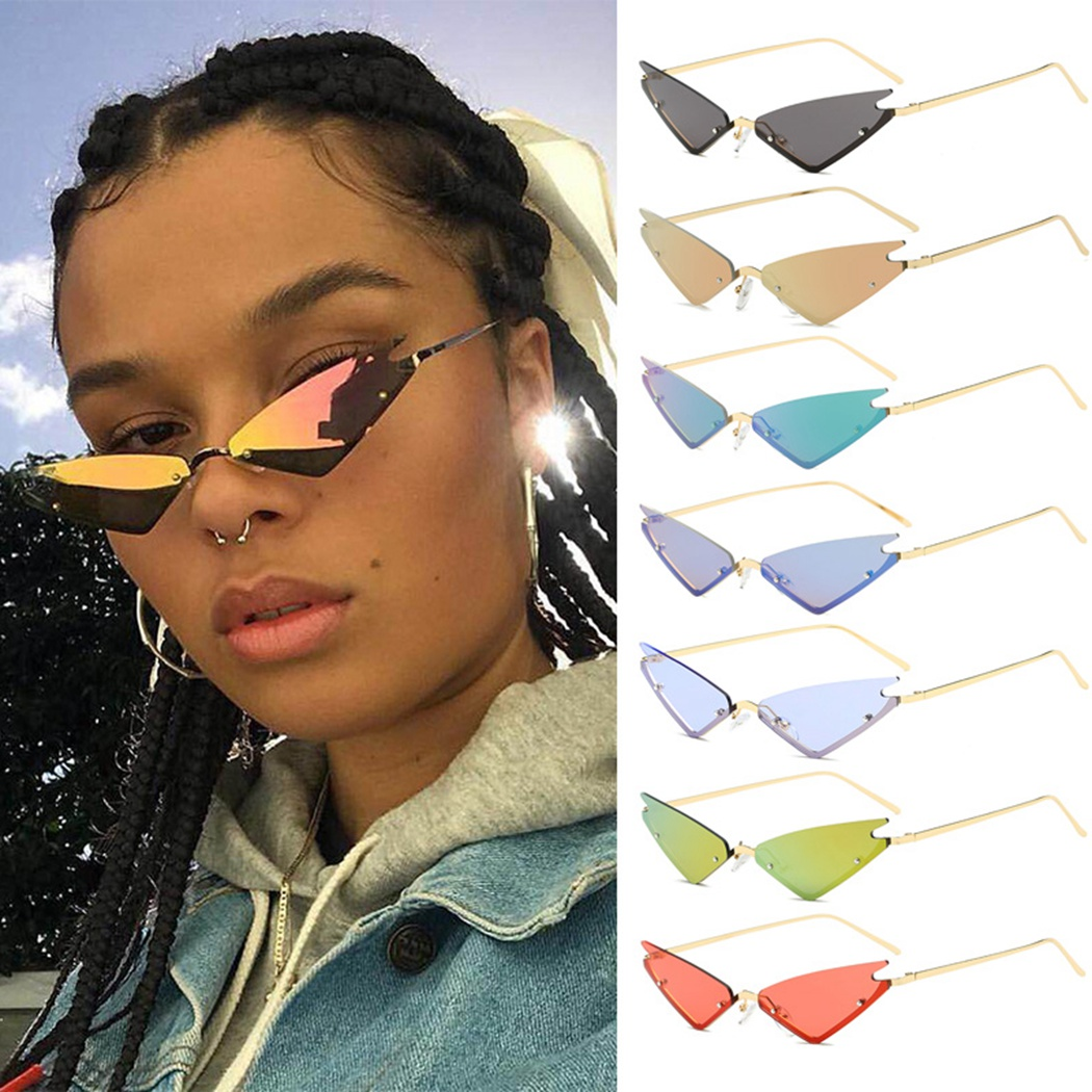 Cool Girl Street Metal Frame Sun Glasses Cat Eye Rimless Small Frame Eye Glasses Fashion 2020 All-match Triangle Sunglasses