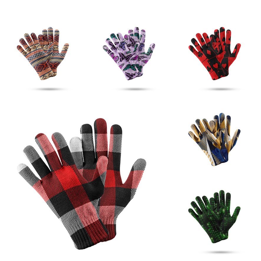 Fashion 3d Printed Check Pattern Warm Gloves Mobile Phone Touch Screen Five Finger Mitten Women Winter Ski Non-Slip Glove