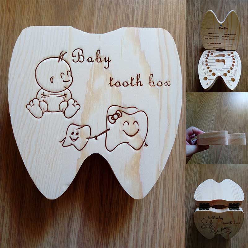 Baby Wood Tooth Box Organizer Milk Teeth Storage Collect Teeth Umbilica Save Gift Spanish/English/Dutch/Russian/French Teeth Box