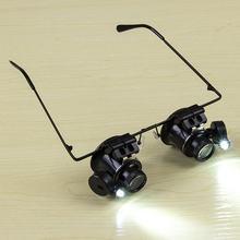 Acehe 20x óculos tipo duplo olho lupa binocular relógio ferramenta de reparo lupa com duas luzes led ajustável