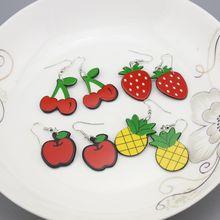 Acrylic Fruit Drop Earrings Pineapple Strawberry Cherry Dangle For Women