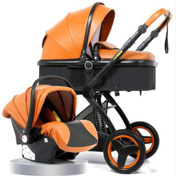 Luxury Baby Stroller 3 in 1 With Car Seat High Landscape Pram For Newborns Travel System Baby Trolley Walker Foldable Carriage image