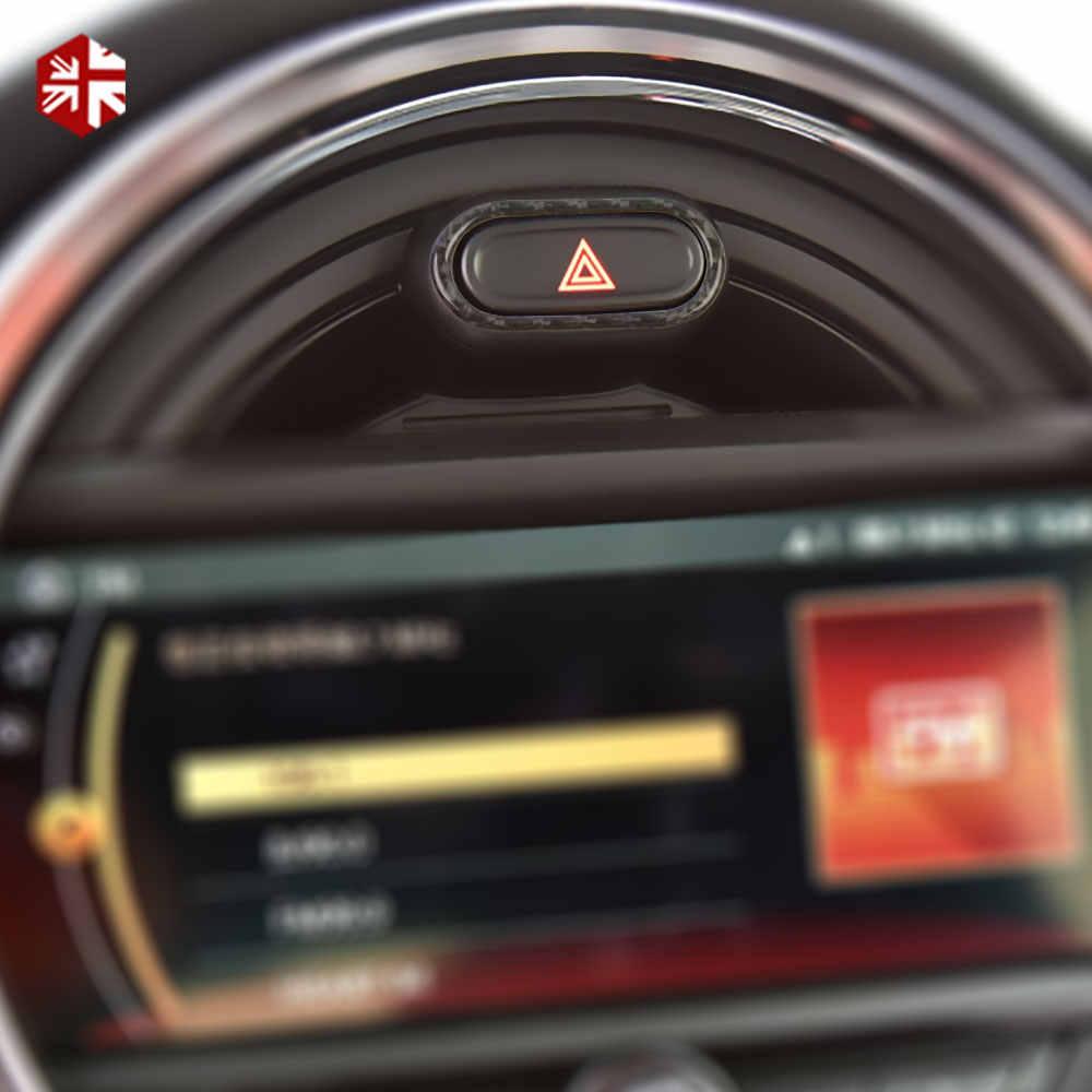 Fibra de carbono interior do carro luz de advertência botão cobre decoração adesivo para mini cooper s f55 f56 jcw clubman f54 acessórios