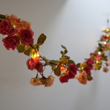 2M Rattan Rose Flower Battery Copper Wire LED Fairy String Lights for Christmas Lit Garland Wedding Decoration Party Event Decor