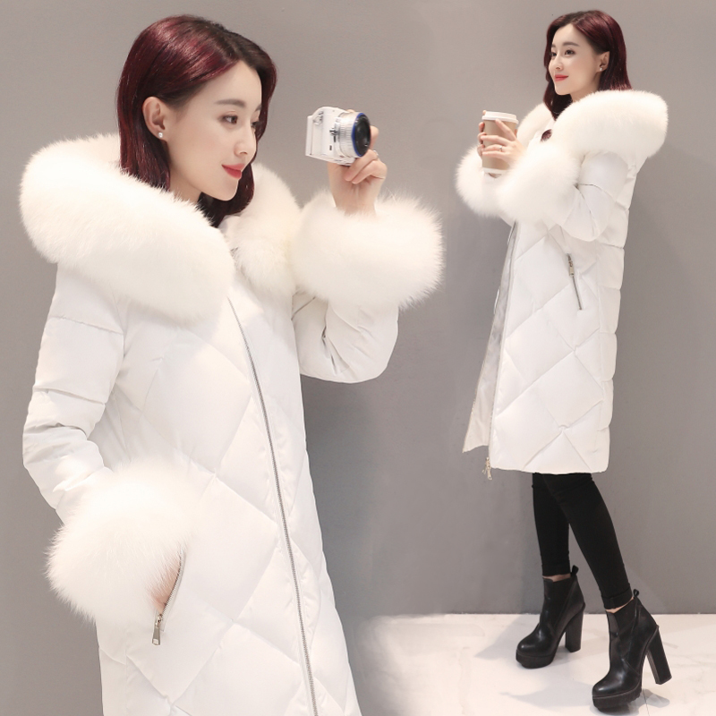 Winter Female Duck Down Jacket Large Fox Fur Hooded Thick Warm Women's Down Jacket Fashion Ladies Long Coat Hiver LW1449