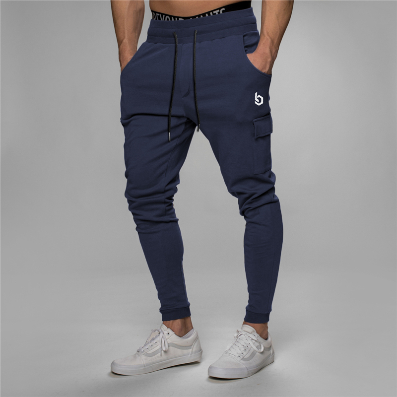 YEMEKE Men Sports Fitness Elastic Pants Fall 2019 Cargo Pants Men Casual Joggers Harem Pants Men Solid Sweat Pant Trousers