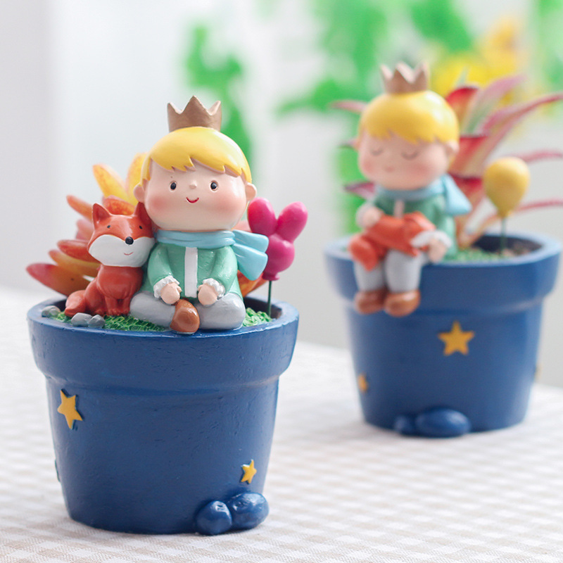 Little Prince Flower Pot Fairy Tail Flowerpot Fox Rose Garden Planter Succulent Plant Pot Home Decoration Animal Figurine|Flower Pots & Planters| |  - title=