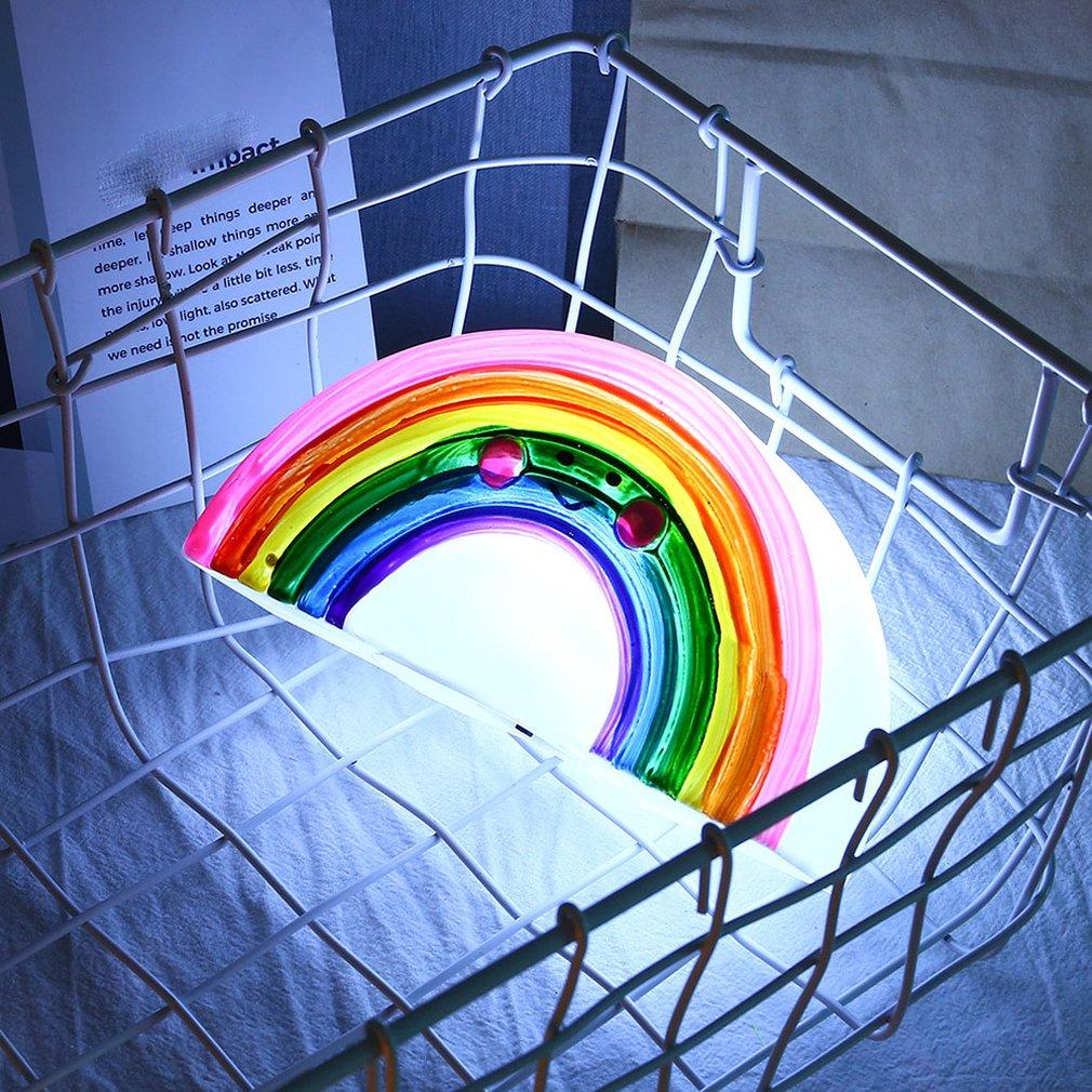 Korean Style Cute Silicone Rainbow Shape Decoration Lamp Children'S Room Layout Night Light Decorative String