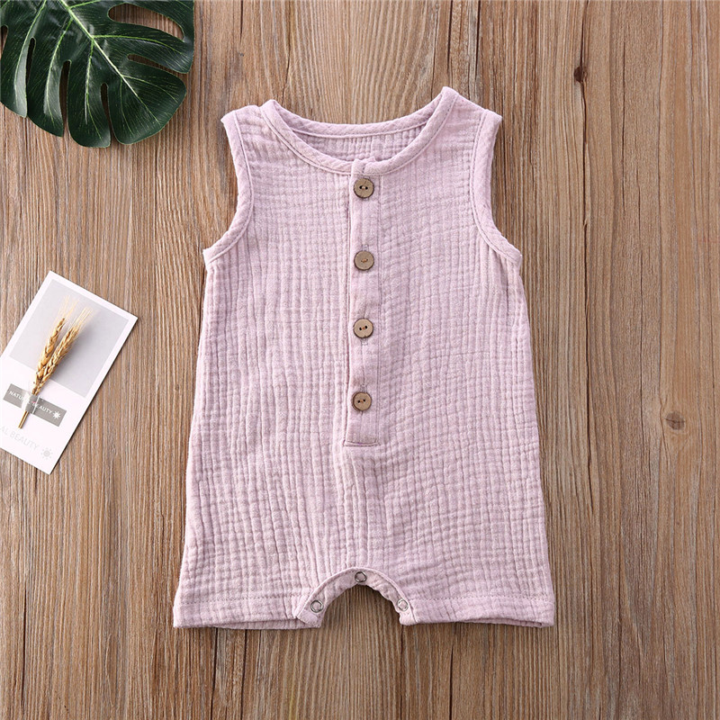 Toddler Boys Girls Summer Rompers Solid Sleeveless Cotton Linen Button Romper Jumpsuits Unisex Infant Baby One-Pieces Clothes