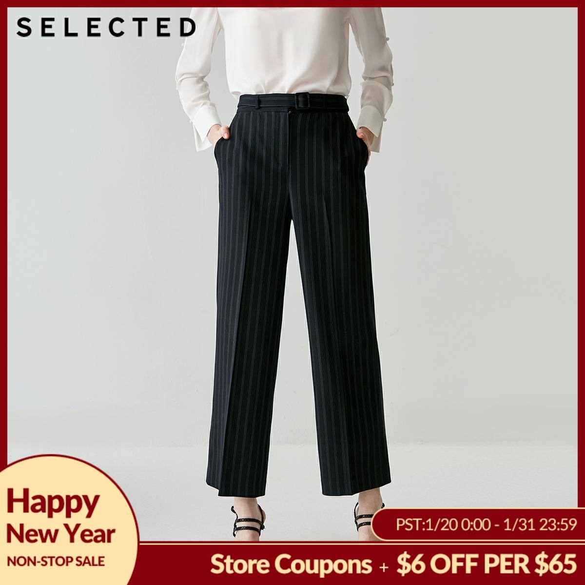 SELECTED Women's Vertical Stripes Wide-leg Crop Pants SI G|419114529