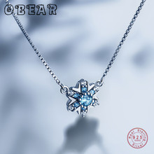 OBEAR 100% 925 Sterling Silver Snowflake Cubic Blue Crystal Necklace Women Fashion Fine Jewelry Simple Necklaces special brand fashion clever maxi necklace 925 sterling silver necklaces