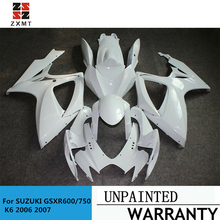 ZXMT Fairing Kit Unpainted For SUZUKI GSXR600/750 K6 2006 2007 Tank Cover&Seat Cowl UV light curing paint motorcycle abs unpainted front upper fairing cowl nose for suzuki gsxr 600 750 2006 2007 k6