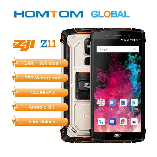 """Homtom zoji z11 celular original, ip68 5.99 """"mtk6750t octa core 4gb 64gb 10000mah android 8.1 smartphone desbloqueado facial,"""