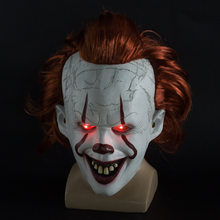 Máscara de mascarilla LED de halloween mascarillas de látex de Horror Smiley Joker Jinx payaso Steven Kings máscara de miedo brillo de neón Pennywise(China)